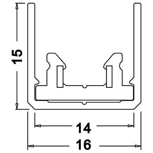 MINI RAIL D'ÉCLAIRAGE 16 x 15 longueur 1000mm TOBI SYSTEM - TORA