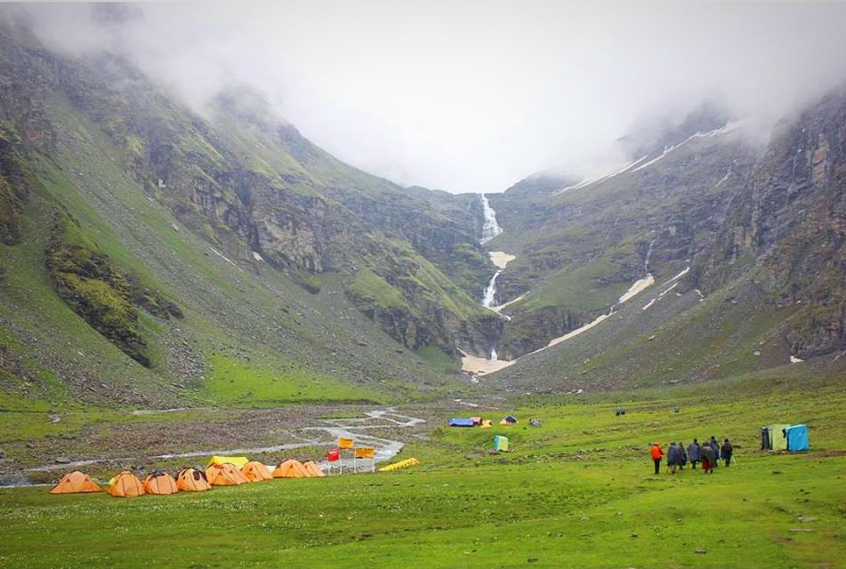 Campsite at lower waterfall