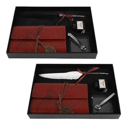 Luxury Retro Leather Poetry Notebook With Feather Dip Pen - Ink Bottle Set
