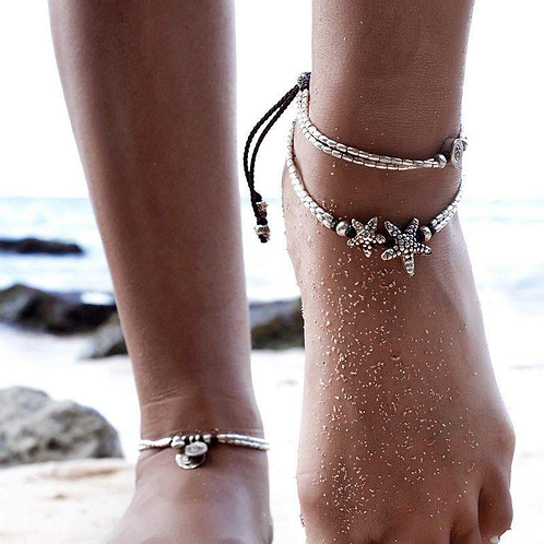 Vintage Double Beaded Allusion Starfish Anklet Ankle Bracelet