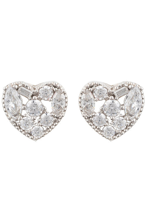 Heart Sparkling Allusion Stud Earrings Silver