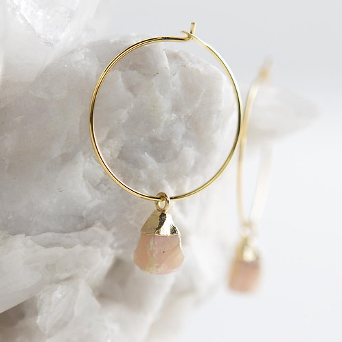 Bella Earrings-Rose Quartz