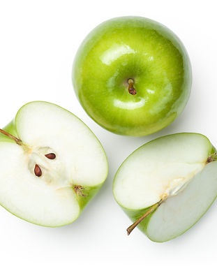 Fresh granny smith apples on white backg