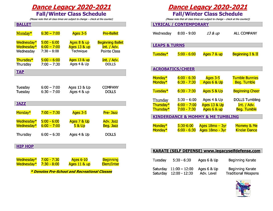 Fall Class Schedule Printable 2020-2021