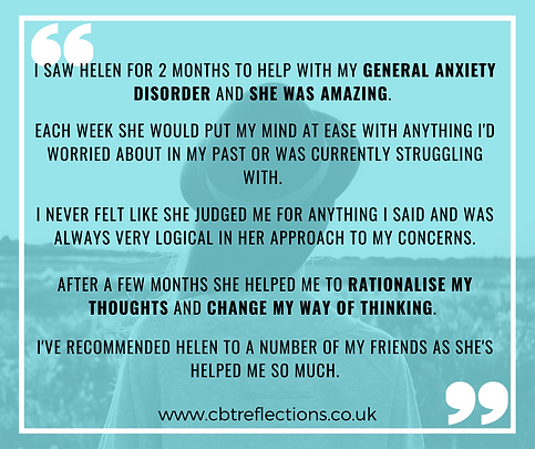 Testimonial about CBT for Generalised Anxiety Disorder