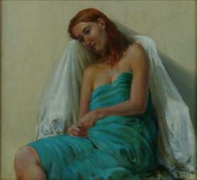 Model gewikkeld in turquoise