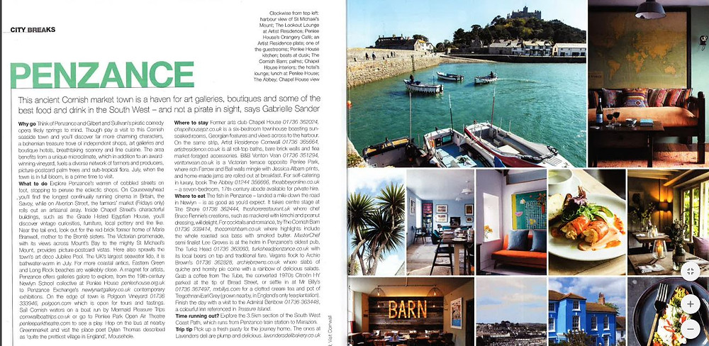 Food and Travel magazine Penzance