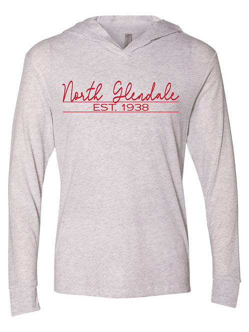NG White - Unisex Triblend Hooded Long Sleeve Pullover