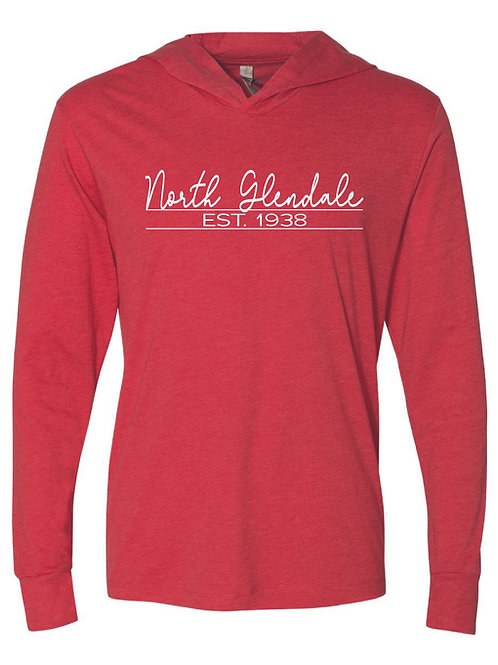 NG Red - Unisex Triblend Hooded Long Sleeve Pullover