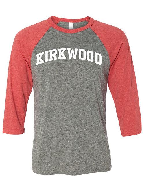 KIRKWOOD Red/Gray Unisex Baseball Tee