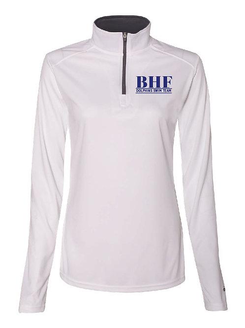 BHF White Women's/Girl's Athletic 1/4 Zip