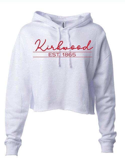 Kirkwood White Women's Lightweight Cropped Hooded Sweatshirt