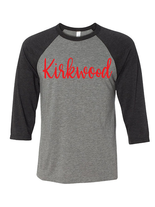 KIRKWOOD Black/Gray Unisex Baseball Tee