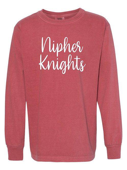 NIPHER Crimson Red Comfort Colors - Garment-Dyed Long Sleeve T-Shirt