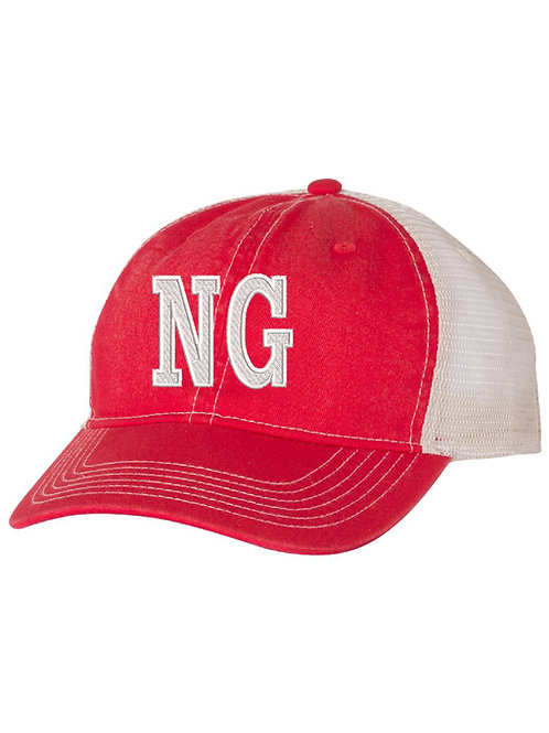 NORTH GLENDALE Embrodiered Red Trucker Hat