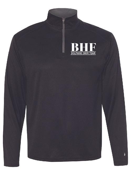BHF Men's Unisex Black Performance 1/4 Zip