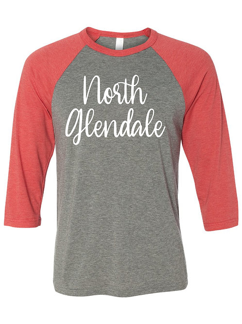 NORTH GLENDALE Red/Gray Unisex Baseball Tee