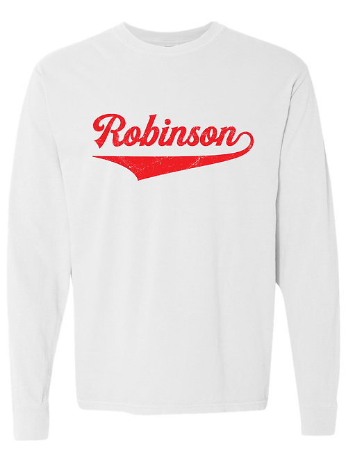 ROBINSON White Comfort Colors - Garment-Dyed Long Sleeve T-Shirt