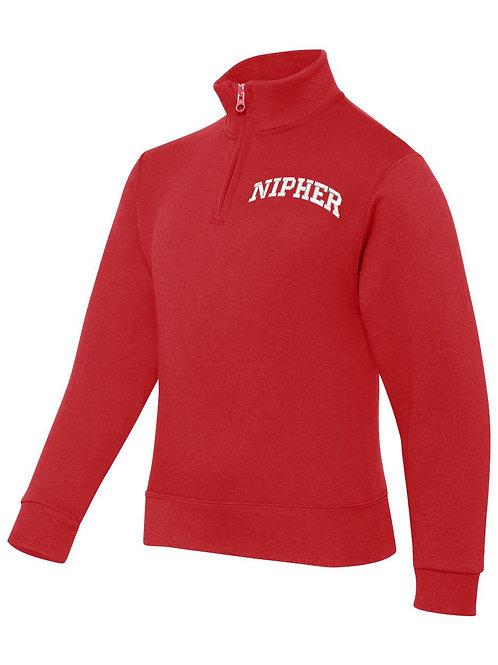 NIPHER RED JERZEES - Nublend® Cadet Collar Quarter-Zip Embrodiered Sweatshirt