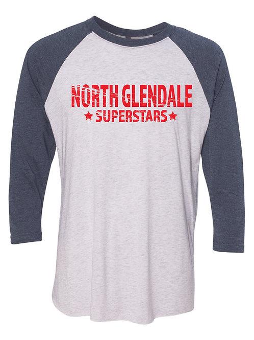 NORTH GLENDALE Navy Unisex Baseball Tee
