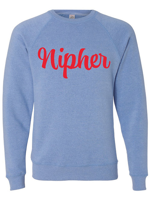 NIPHER Blue Unisex Special Blend Raglan Sweatshirt