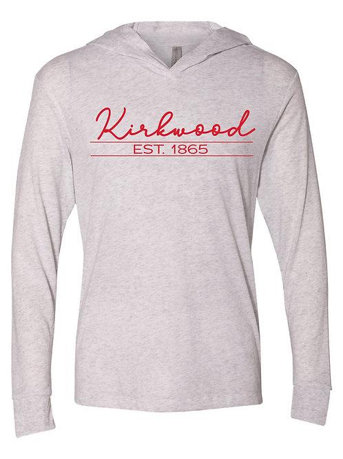 Kirkwood White - Unisex Triblend Hooded Long Sleeve Pullover