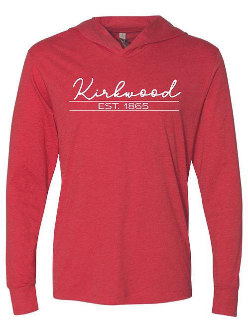 Kirkwood Red - Unisex Triblend Hooded Long Sleeve Pullover