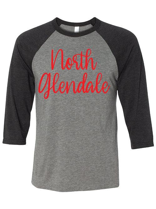NORTH GLENDALE Black/Gray Unisex Baseball Tee