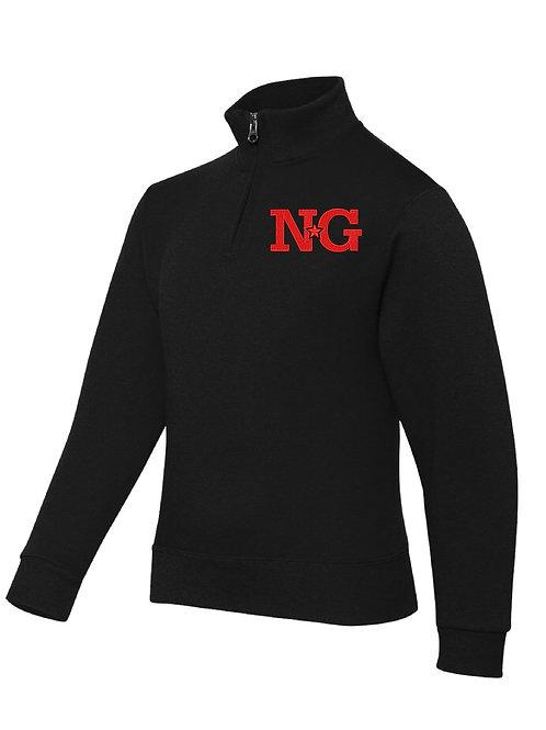 NORTH GLENDALE BLACK JERZEES - Nublend® Cadet Collar Quarter-Zip Embrodiered Swe