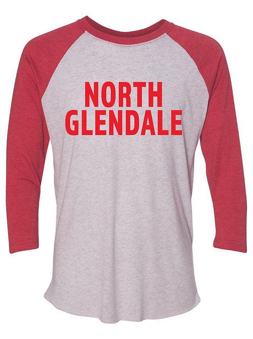 NORTH GLENDALE Red Unisex Baseball Tee