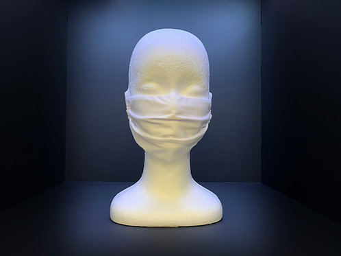 STD. PLEATED WHITE FACE MASK WITH TIES