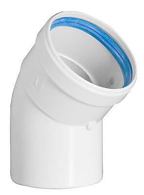 Conduit modulaire simple paroi en polypropylène blanc avec joint d' étanchéité permettant l'évacuation des gaz de combustion et l'amenée d'air comburant par l'intermédiaire de conduits indépendants , des générateurs étanches à condensation.