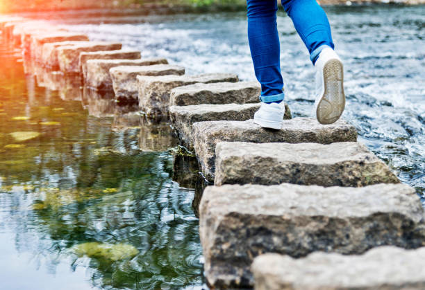 image of a person using stepping stones to cross a stream