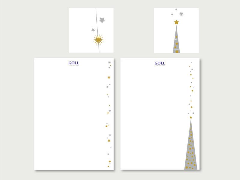 Gestaltung Weihnachtsbriefpapier für Goll Consulting, Bonn