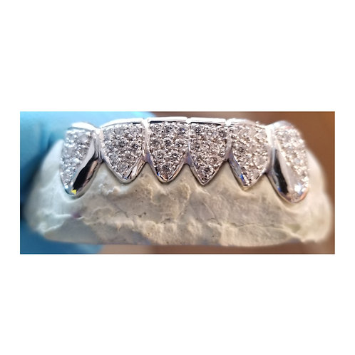 Silver Iced Out Half Set Grill with CZ's