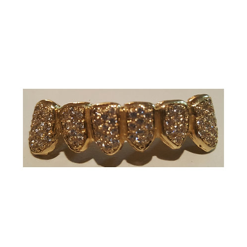 14Kt. Iced Out Half Set Grillz with CZ's