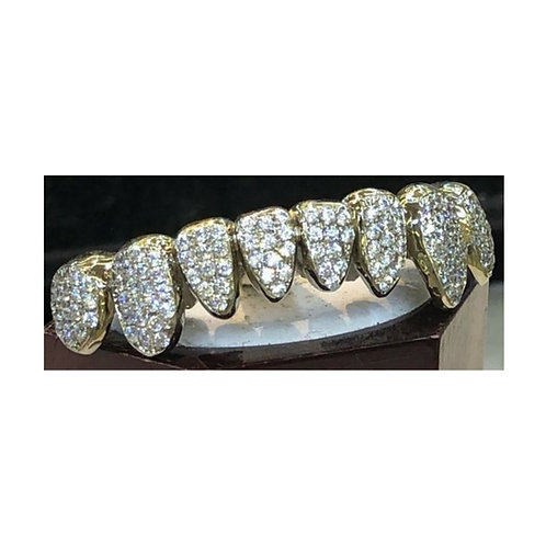 14Kt. Iced Out Full Set Grillz with CZ's