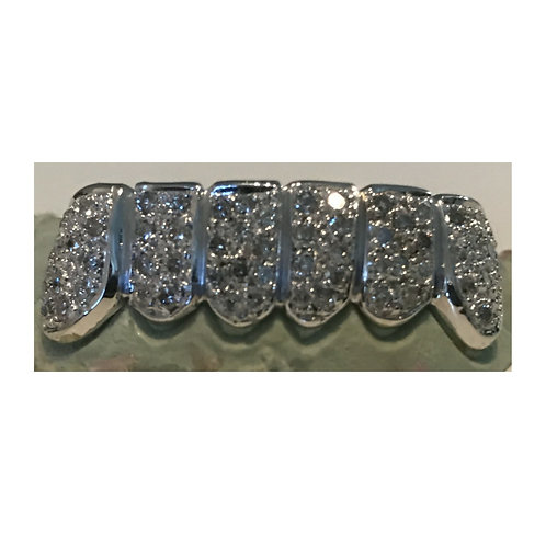 Silver Iced Out Half Set Grillz with SI Diamonds