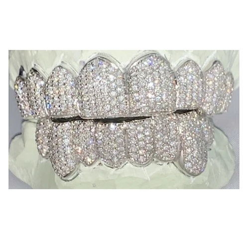 Silver Iced Out Full Set Grillz with SI Diamonds