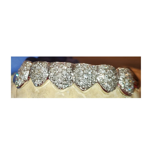 Silver Iced Out Full Set Grillz with CZ's