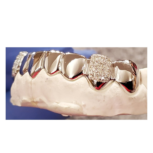 14Kt. Iced Out Half Set Grillz with VS Diamond