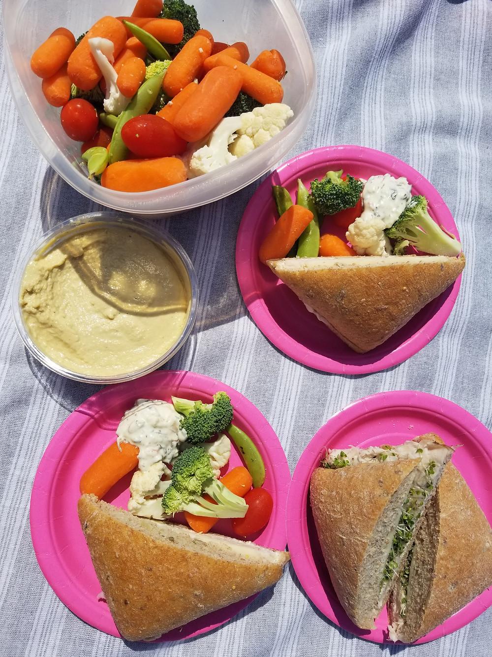 picnic, beach, sandwich, vegetables, healthy lunch