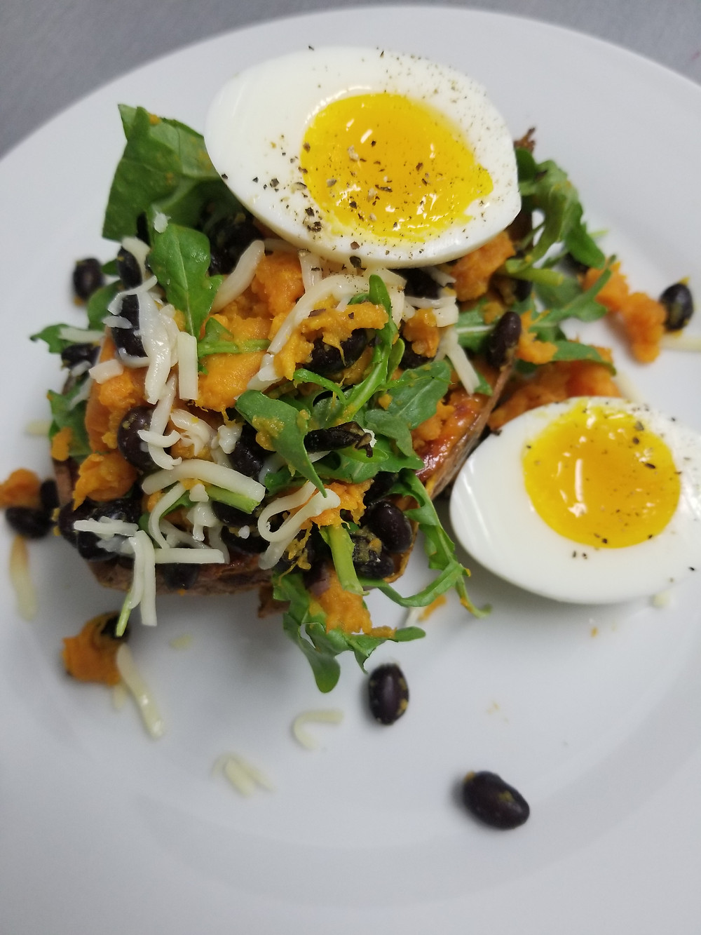 egg, breakfast, sweet potato, black bean, vegetarian