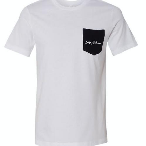White Tshirt w/ Black Pocket