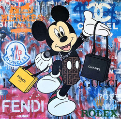 MICKEY LOVES TO SHOP 80X80CM