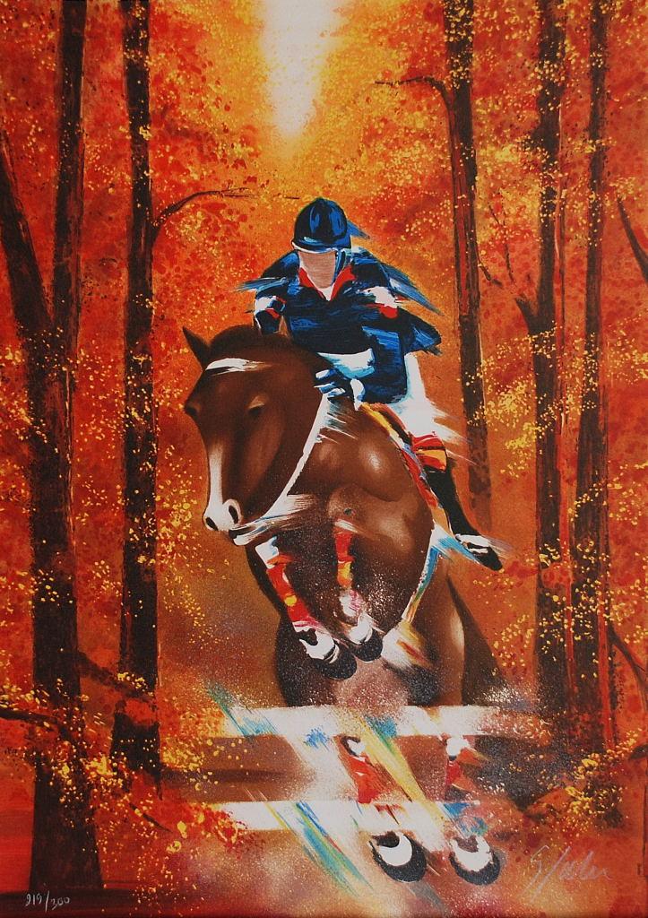 Course de chevaux en automne