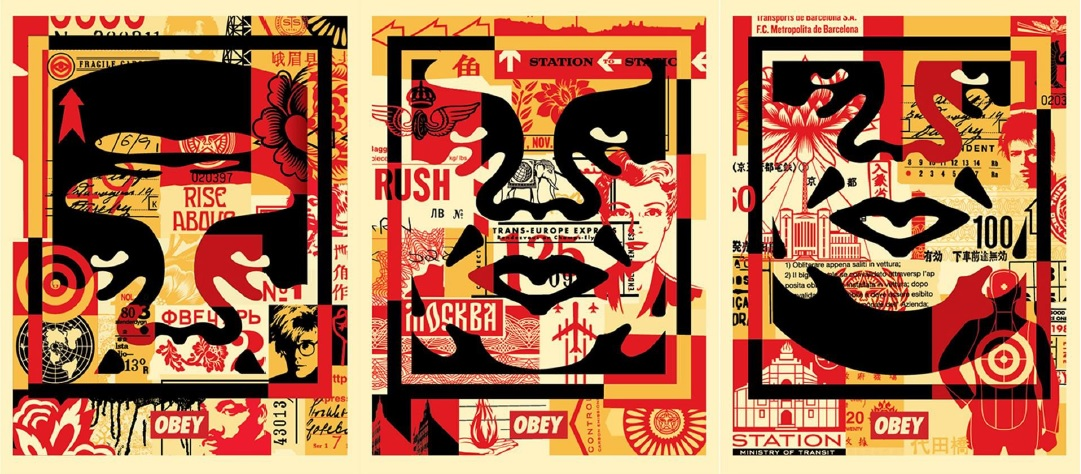 Obey 3 Face (Collage) - triptyque