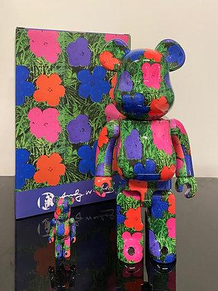 Bearbrick Andy Warhol's Flowers 400% + 100%