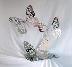 Trio de papillons Chromés