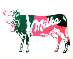 Vache Milka verte/rose 24X30CM
